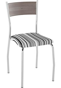 Kit C/ 2 Cadeiras Encosto Tabaco Assento Listrado Preto Pozza