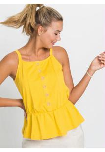 Blusa De Alças Com Botões Amarela