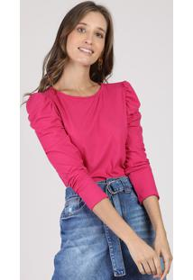 Blusa Feminina Básica Canelada Manga Bufante Decote Redondo Pink