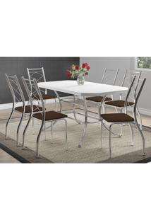 Mesa 1507 Branca Cromada Com 6 Cadeiras 1710 Cacau Carraro