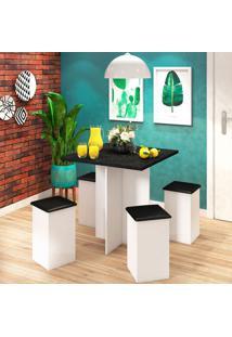 Conjunto De Mesa De Cozinha Com 4 Lugares Pratic Corino Branco E Preto