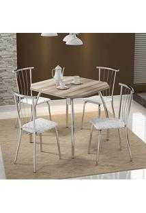 Mesa 1504 Nogueira Cromada Com 4 Cadeiras 154 Fantasia Branco Carraro