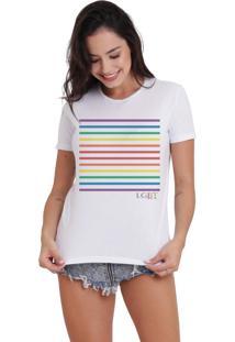 Camiseta Basica Joss Lgbt Listras Branca - Kanui