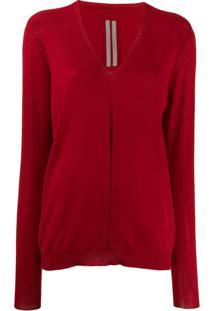 Rick Owens Suéter Decote Em V - Vermelho
