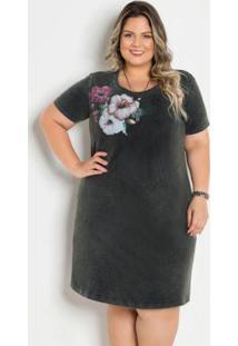 T-Shirt Dress Marmorizado Com Estampa Plus Size