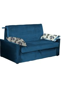 Sofá Cama 2 Lugares Cristal - Matrix - Light Azul / Floral Azul
