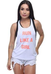 Regata Dry Fit Run Girl Com Fita Neon Hard Clothing Fit Feminina - Feminino