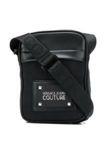 Versace Jeans Couture Bolsa Carteiro Com Placa De Logo - Preto