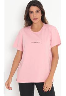 "Camiseta ""Trendsetter""- Rosa Claro & Preta- Colccicolcci"