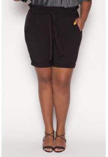 Shorts Almaria Plus Size Alt Brand Paperbag Feminino - Feminino-Preto