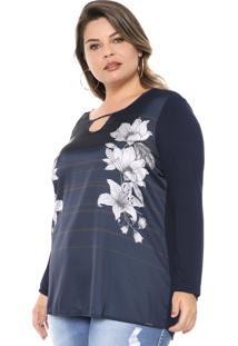 Blusa Cativa Plus Floral Azul-Marinho