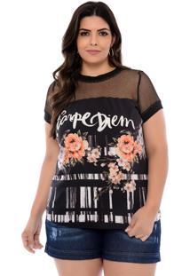 Blusa Elegance All Curves T-Shirt Plus Size Preta Carpe Diem