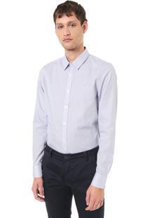 Camisa Calvin Klein Reta Listras Azul