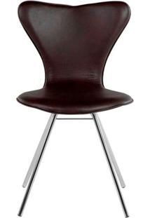 Cadeira Jacobsen Cromada Corino Marrom - 16506 - Sun House