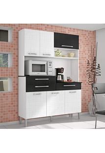 Armário De Cozinha 6 Portas 3 Gavetas Orion Kits Paraná Branco/Linho Branco/Cp- Linho Preto