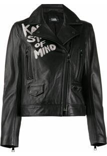 Karl Lagerfeld Jaqueta Biker Com Slogan - Preto