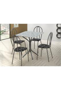 Jogo De Mesa Artefamol E 04 Cadeiras Thais Com Tampo Em Mdf Craquelada Com Assento Preto Flor