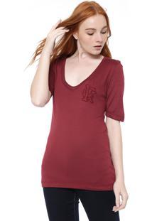 Camiseta Calvin Klein Bordado Vinho