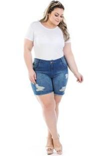 Shorts Jeans Feminino Confidencial Extra Destroyed Shakira Plus Size - Feminino-Azul