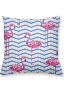 Capa De Almofada Decorativa Own Flamingos Fundo Chevron Azul 45X45 - Somente Capa