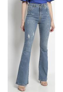 Jeans Flare Com PuãDos- Azul Clarotvz