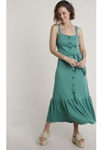 Vestido Feminino Midi Com Babado E Faixa Para Amarrar Alça Larga Verde
