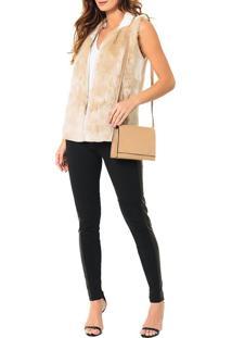 Bolsa Pequena Calvin Klein Jeans Verniz E Couro Caqui Claro - U
