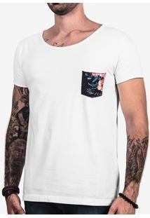 Camiseta Hermoso Compadre Bolso Estampada Canoa Ma - Masculino-Branco