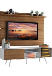 Rack Madesa Cairo E Painel Para Tv Até 65 Polegadas Com Pés De Madeira - Branco/Rustic/Rustic Branco