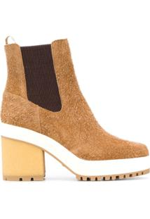 Hogan Ankle Boot Com Salto Bloco - Neutro