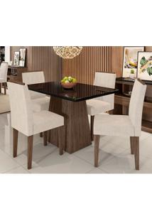 Conjunto De Mesa De Jantar Com Tampo De Vidro Bárbara E 4 Cadeiras Ana Animalle Preto E Creme