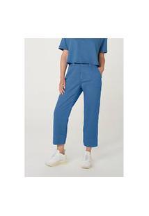 Calça Hering Wide Leg Em Sarja De Algodão Azul
