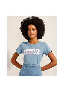 """Camiseta De Algodão Brooklyn"""" Manga Curta Decote Redondo Azul"""""""
