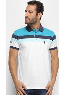 Camisa Polo Aleatory Fio Tinto Bicolor Masculina - Masculino-Verde+Branco