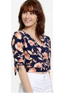 Blusa Feminina Cropped Transpassada Floral Manga Curta