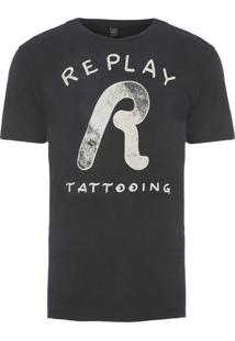 Camiseta Masculina Tattooing - Preto