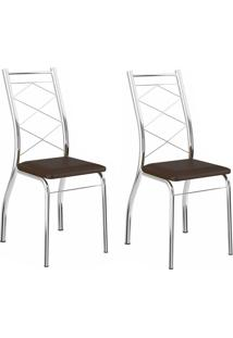 Kit 2 Cadeiras 1710 Cacau/Cromado - Carraro Móveis