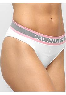 Calcinha Calvin Klein Tanga Sem Costura Hazard - Feminino-Branco