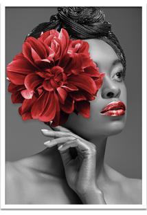 Quadro 60X90Cm Angela Mulher Com Flor Vermelha Nórdico Moldura Branca Com Vidro