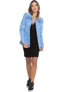 Jaqueta Jeans Maxi Le Julie Feminina - Feminino-Azul