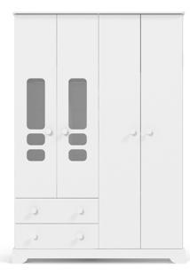 Roupeiro 4 Portas Smart Branco-Acetinado Matic Móveis