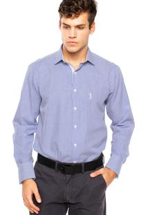 Camisa Aleatory Bordado Azul/Branca