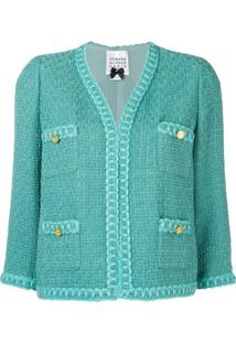 Edward Achour Paris Jaqueta Cropped De Tweed - Azul