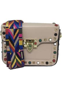 Bolsa Casual Transversal Alça Colorida Sys Fashion 831617 Bege