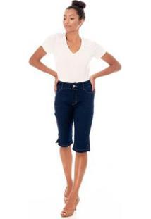 Bermuda Sisal Jeans Pedal Jeans Feminina - Feminino-Azul