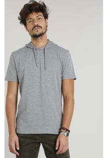 Camiseta Masculina Com Capuz Manga Curta Cinza Mescla