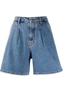 Msgm Short Jeans Com Cintura Alta - Azul