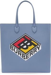 Burberry Bolsa Tote Kane Grande De Couro - Azul