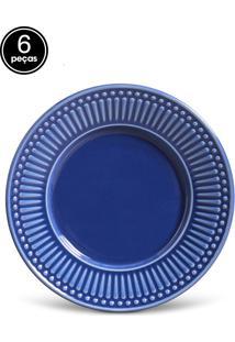 Conjunto De Pratos De Sobremesa Porto Brasil Roma 6Pçs Azul-Marinho