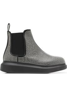Alexander Mcqueen Studded Chunky Sole Ankle Boots - Preto
